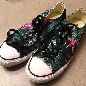 Converse tropical palm leaf flower tennis shoes